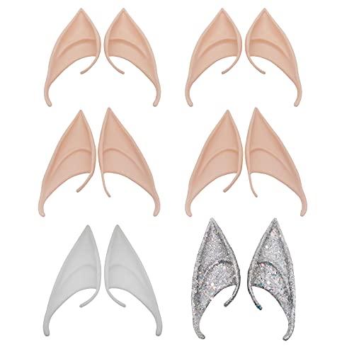 CDIYTOOL Hada Pixie Elf Orejas, 6 pares de orejas de duende de látex, punta suave, punta falsa, oreja, cosplay, Halloween, fiesta, accesorios de disfraces