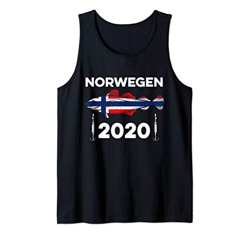 Angel Tour Norwegen 2020 Flagge Dorsch Angelhaken Angeln Tank Top
