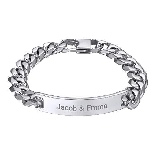 GoldChic Jewelry Pulsera de Identidad Nombre Personalizado Brazalete Acero Inoxidable para Mujeres Hombres Regalo Navidad día de los Enamorados