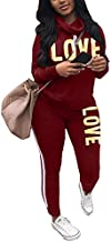Women's Letter Print 2 Piece Outfits Cowl Neck Long Sleeve Sweatshirt and Pants Set Tracksuit Burgundy X-Large