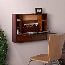 Southern Enterprises Willingham Wall Mount Folding Laptop Desk - Fold Down Desktop w/Compartments - Dark Brown Finish