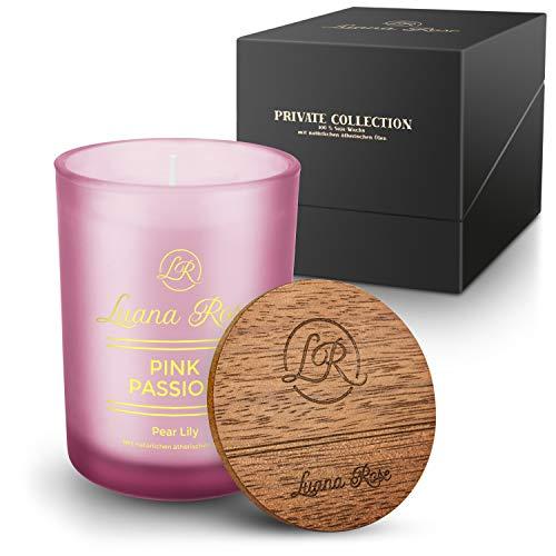 Luana Rose Duftkerze Geschenkset - 100% Soja Wachs Kerze für Aromatherapie - Lange Brenndauer 50Std - Geschenk Kerze Holzdeckel - Kerzen im Glas - Candle Light Soja Wachs (Pear Lily)