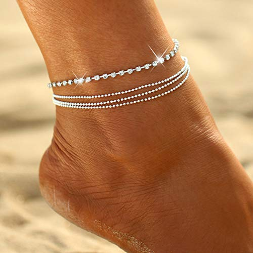 Shegirl Fashion Multilayer Anklet Bracket Rhinestone Layered Anklet Brackets Silver Bead Flash Drill Anklet Chain Beach Foot Jewelry for Women and Girls