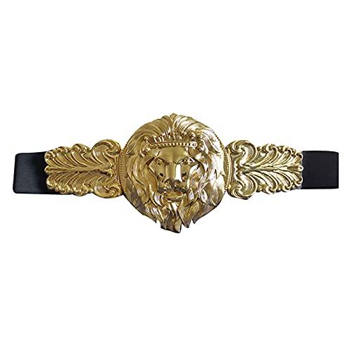 Quniko Plus Size Wide Elastic Belt with Gold Metal Buckle Waistband Belt for Women, Lion