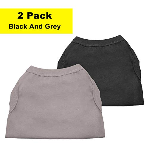 Chol & Vivi Dog Shirts Clothes, Dog Clothes T Shirt Vest Soft And Thin, 2pcs Blank Shirts Clothes Fit For Extra Small Medium Large Extra Large Size Dog Puppy, Extra Large Size, Black And Grey