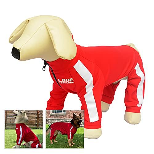Hunde-Sweatshirt Reißverschluss Hund Sportanzug 4 Beine bedeckt Hundekleidung Bequem Atmungsaktiv Hundepullover für Kleine Mittlere Große Hunde Rot XL
