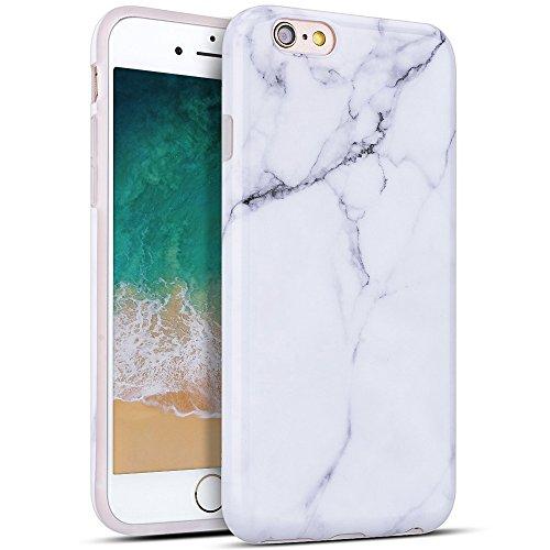 Cover per Apple iphone 6, MoEvn Custodia iphone 6s Silicone Marmo Ultra Sottile Leggera Morbido Flessibile TPU Caso Effetto Naturale Marble Design Gomma Antiurto Protettivo Bumper Copertura Bianco