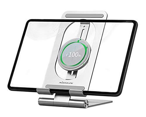 ElecGear Soporte Tableta Aluminio y Cargador Inalámbrico Rápido de 15W, Soporte Ajustable Plegable y Estación de Carga de Inducción Qi para Tabletas iPad Pro Mini Air MatePad Tab iPhone de 4.7-13''