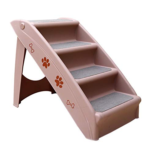 OMKMNOE Haustiertreppe, 4 Anti-Rutsch Stufen, Für Hunde Und Katzen Hundetreppe Deluxe Treppe Für Hunde Bis 30 Kg Klappbare Auto Und Innenbereich,Lila