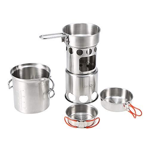 Lixada Camping Batterie de Cuisine Mess Ensemble Plein air Portable Pliant Bois Hot Pot Ensemble Bol cuillère Fourchette Outil coutellerie Ensemble 10/12/13 Pcs(Facultatif) (10pcs kit)