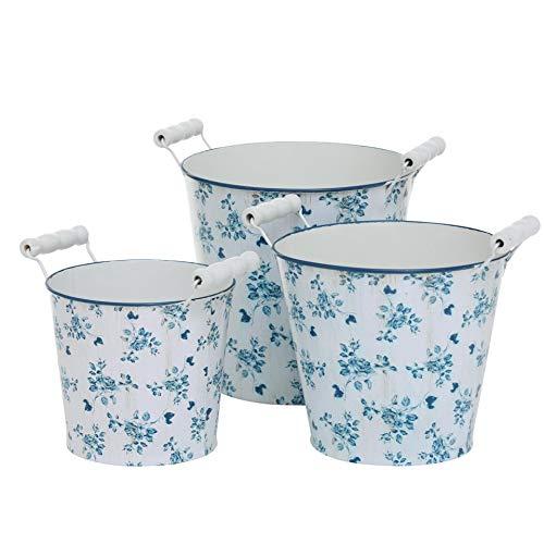CasaJame Maison Meubles Jardin Accessoires Organisation Décoration Ensemble de 3 Vases Supports de Pots pour Plantes et Fleurs Zinc Blanc Bleu Motif Floral Tailles Assorties