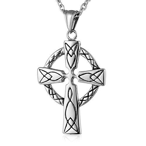 Bishilin Gothic Herren Edelstahl Kette Kreuz Celtic Knoten Halskette Anhänger Silber Partnerkette