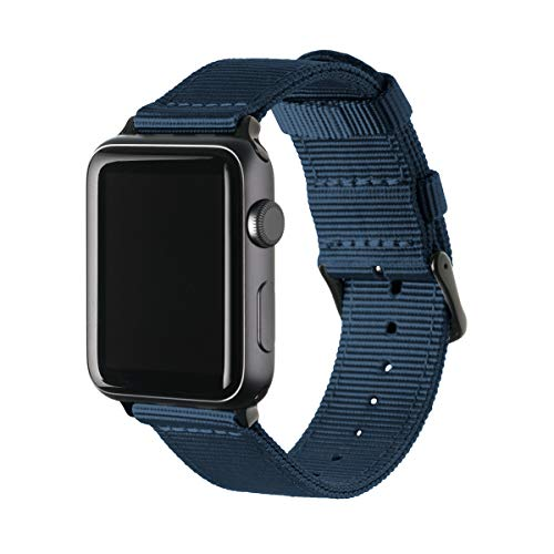 Archer Watch Straps - Premium Nylon Replacement Bands for Apple Watch (Navy, Black, 42/44mm)