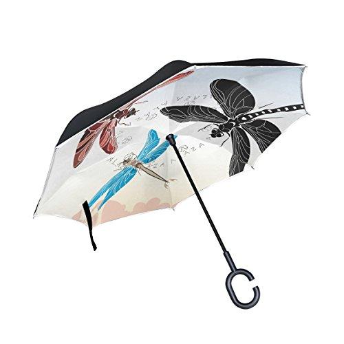 XiangHeFu Doppellagige umgekehrte Regenschirme Libelle Schablone Vektor in drei Varianten faltbar winddicht UV-Schutz groß gerade für Auto mit C-förmigem Griff