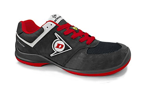 Dunlop DL0201037-41 Zapato, Piel de Ante y Mesh, Negro y Rojo, 41