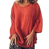 VEMOW Blusa Womens Casual O-Cuello 3/4 Manga Lino sólido Camiseta Suelta Pullover Top(Naranja,M)