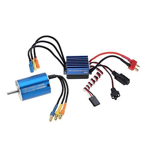 FastWin 2838 4500KV 4P Sensorless Brushless Motor & 35A Brushless ESC Electronic Speed Controller for 1/14 1/16 1/18 RC Car (2838 4500KV+35A)