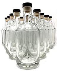750 ml bottle holds 24 oz 12 bottles and cork stoppers. Made in the USA Cork Stoppers and Synthetic so they hold up well and don't leak This is a great jug for your homemade Moonshine, Liqueurs and Whiskey