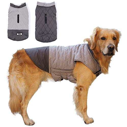 Winter Dog Coat Reversible Dog Jackets Bone Waterproof Reflective Cold Weather Pet Wearing for Small...