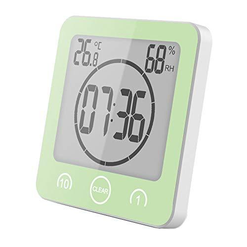 VORRINC Bad Uhr Badezimmeruhr Wasserdicht, Uhr Badezimmer, Shower Clock Dusche Uhr mit Saugnapf, Luftfeuchtigkeit Temperatur Digitaluhr, AM/PM oder 24 Stunden Format, Touch Control Timer Alarm (Grün)