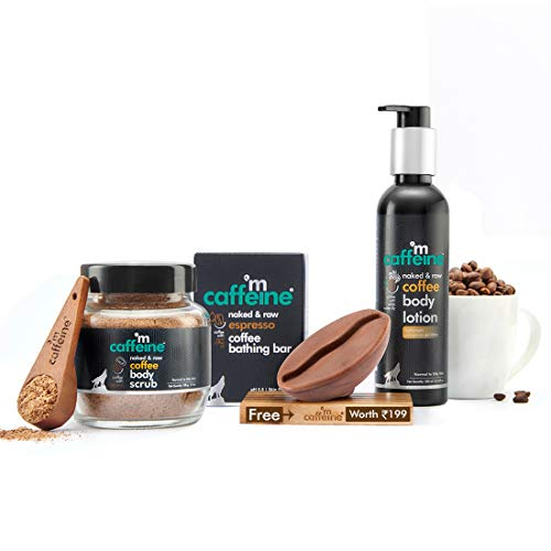 mCaffeine Espresso Body De-Tan Kit | Free Handcrafted Bean Tray | Deep Cleanses, Removes Tan, Moisturizes | Bathing Bar Soap, Body Scrub, Body Lotion