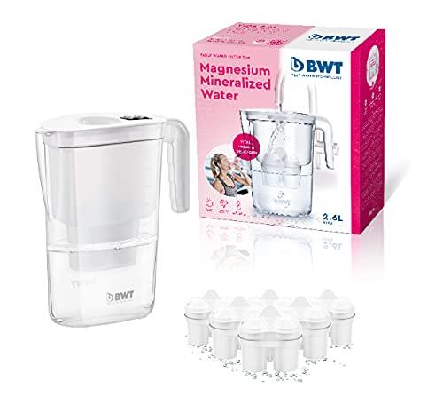 BWT Manual Life - Magnesium Wasserfiltertopf + Pack 6 Wasserfiltertopf, 2,6 L weiß