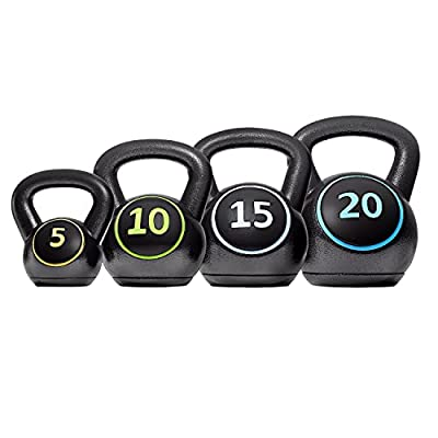 YAHEETECH 4-Piece Kettlebell Set,Exercise Fitness Kettlebells Weight Set w/Textured Grip Wide Handle & HDPE Bottom for Women & Men Full Body Workout & Strength Training,Includes 5lb, 10lb,15lb 20lb by Yaheetech