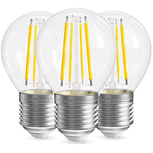 Bombilla de rosca E27 Transparente, Bombilla de rosca de 4W E27, equivalente a 40W, paquete de 3 bombillas LED de filamento E27, E27 Bombillas LED de bola de golf, No, 400LM, 2700K Blanco cálido - -R