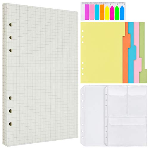 Graph Refill Paper, 160 Grid Pages, 5 Colored Binder Dividers, 160 PCS Sticky Index Tabs with Ruler, 2 PCS Binder Pockets for A5 Refillable Journal Notebook Planner Organizer