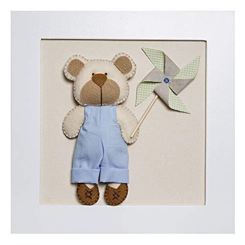 Quadro Decorativo Ursinho com Catavento, Quarto Bebê Infantil Menino, Potinho de Mel, Bege