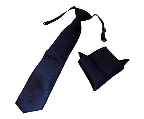 Pietro Baldini gebundene Krawatte in diversen Farben mit Einstecktuch - elegantes Rippen Finish - krawatte fertig gebunden (Blau)