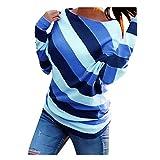 iHENGH Damen Top Bluse Lässig Mode T-Shirt Frühling Sommer Frauen Bequem Blusen Oansatz gedruckt gestreiftes langes Hülsen beiläufige lose Spitze(Blau, XL)