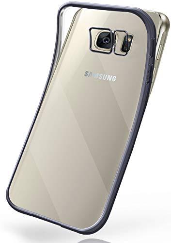 moex Transparente Silikonhülle im Chrome-Style kompatibel mit Samsung Galaxy S7 Edge   Flexibler Schutz mit Hochglanz Metallic Rahmen, Anthrazit
