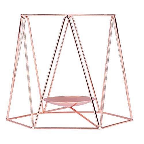 non-brand Baoblaze Supports pour Bougies Décoration de Maison Bougeoirs Nordic Fer 3D Decor Mariage - Or Rose, L