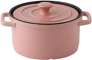 XH&XH Non-Stick Pot with Lid Casserole Heat Resistant Casserole Casserole Lead and Cadmium Free Clay Pot Pink 3.2qt (3l)