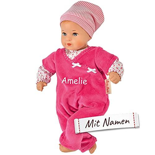Käthe Kruse Puppe mit Namen Bestickt, Mini Bambina Lisa pink, Mädchen Kinder Puppe mit Kleidung personalisiert, Kuschelpuppe Anziehpuppe, 136551