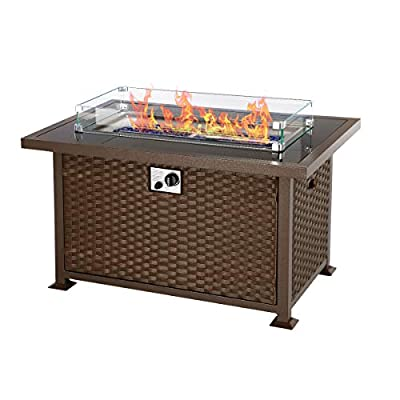 U-MAX 44in Outdoor Propane Gas Fire Pit Table, 50,000 BTU Auto-Ignition Gas Firepit with Glass Wind Guard, Black Tempered Glass Tabletop & Blue Glass Stone, Brown PE Rattan, CSA Certification