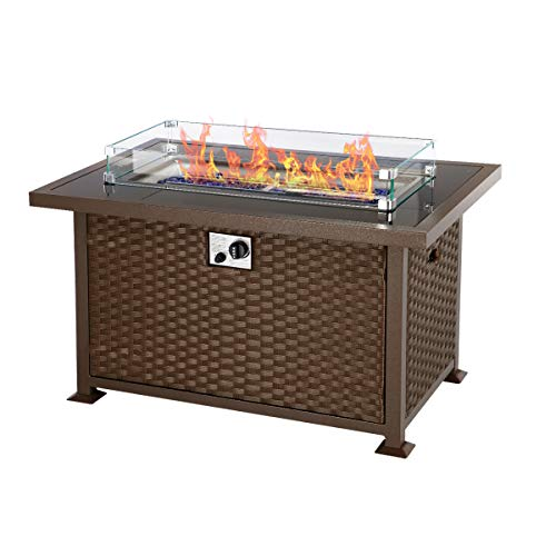 U-MAX 44in Outdoor Propane Gas Fire Pit Table, 50,000 BTU Auto-Ignition Gas Firepit with Glass Wind Guard, Black Tempered Glass Tabletop & Blue Glass Stone, Aluminum Frame&PE Rattan, CSA Certification