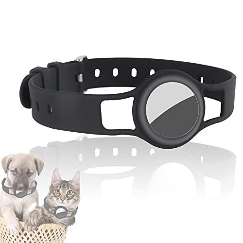 JLLTiioo Silikonhalsband für Hunde und Katzen Kompatibel mit Apple AirTag 2021, 20-40 cm (8,2 \'\' - 15,5 \'\') Langlebig und sicher Einstellbare Länge, Pet Finder-Zubehörabdeckung (1 Stück, Schwarz)