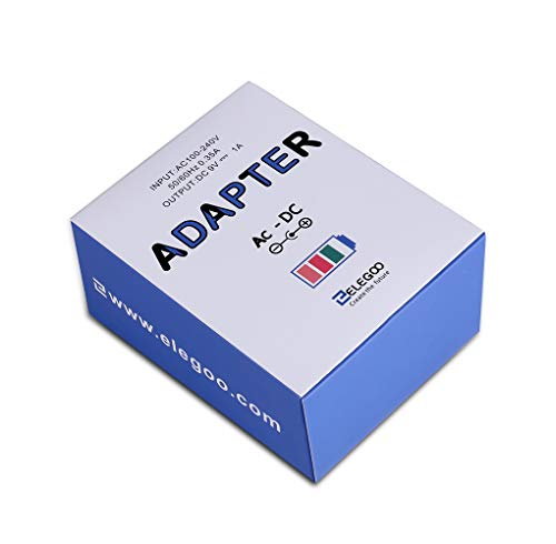 Elegoo Netzteil 9V 1A DC AC 100V-240V Konverter 5.5mm x 2.5mm 1000mA Adapter Arduino Zubehör Ladegerät mit CE Zertifikat