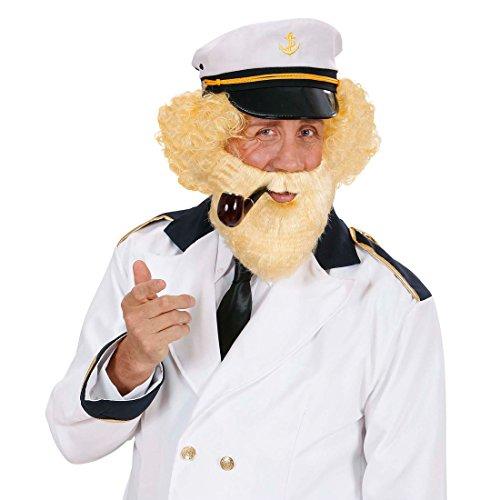 Amakando Seemann Bart Vollbart blond Kapitän Kunstbart mit Mustache Voller Seemannsbart mit Schnurrbart Nordischer Faschingsbart Buschiger Karnevalsbart Karneval Kostüm Zubehör