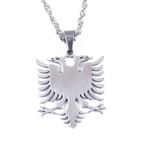 Edelstahl Silber Farbe Albanien Adler Anhänger Halsketten Trendige Albanien Kette Schmuck 50Cm