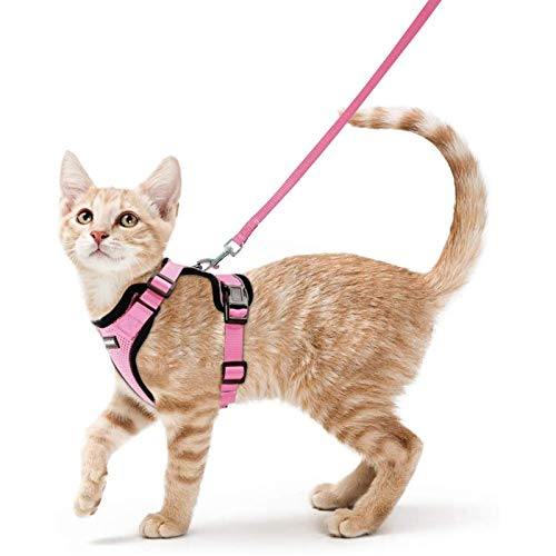 rabbitgoo Cat Harness and Leash for Walking, Escape Proof Soft Adjustable Vest Harnesses for Cats, Easy Control Breathable Reflective Strips Jacket, Pink, XS (Chest: Chest: 13.5'-16')
