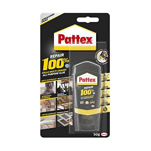 Pattex Repair 100% Colle Multi-usages, colle forte transparente pour tous types de travaux à l'intérieur et l'extérieur, colle liquide multi- matériaux, 50 g