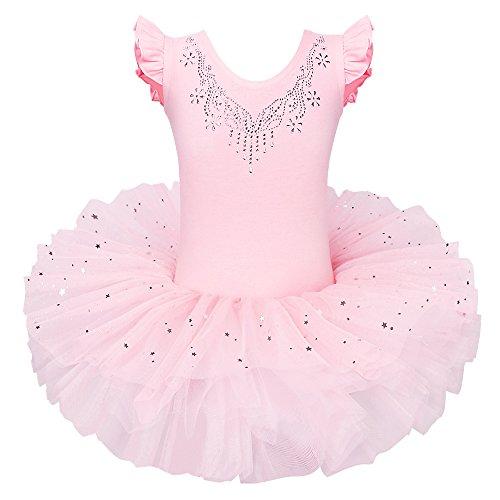 ZNYUNE Mädchen Kinder Baby Ballettkleid Ballettanzug 4 Lagen Trikot Leotard Ballettbekleidung Ballettbody 3 4 Jahre Pfirschfarbig