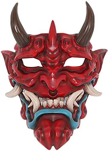 Máscara de Prajna japonesa, máscara facial completa de Airsoft BB Evil Demon Monster Kabuki Samurai Hannya Oni máscara de cara cara cara cara cara