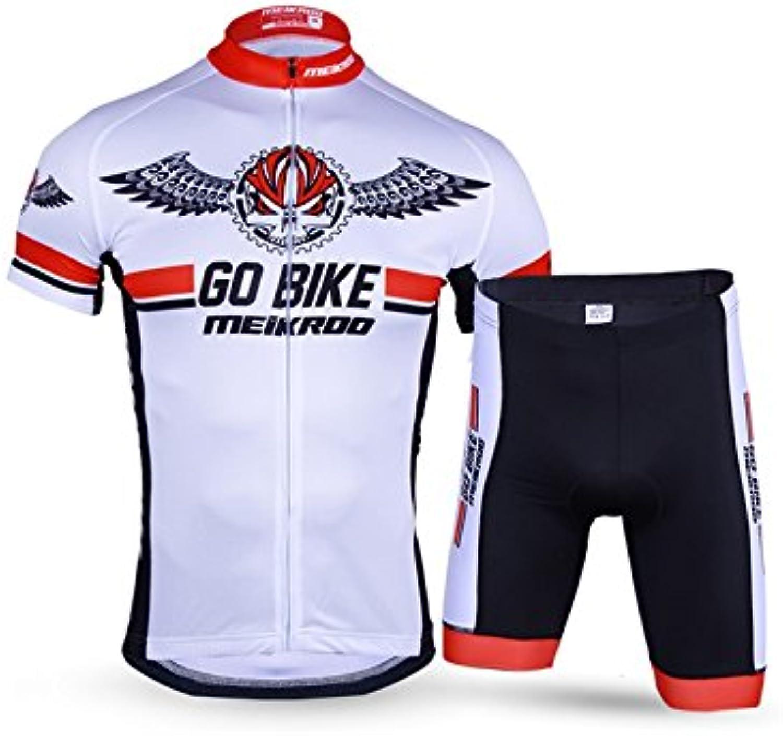 ADream Herren Radsportbekleidung Set Atmungsaktiv Schnell Trocknend Kurzarm Jersey Shirt  3D Shorts Weiß L B07HG1HQ7M  Haltbarkeit