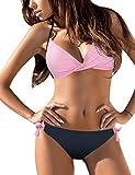 Voqeen Conjunto de Bikini Push up Bralette Mujer Bikini con Cuello Halter Acolchado Traje de baño de Cintura Baja Trajes de baño Adecuado Viajes Playa Bañador Trajes (W, S)