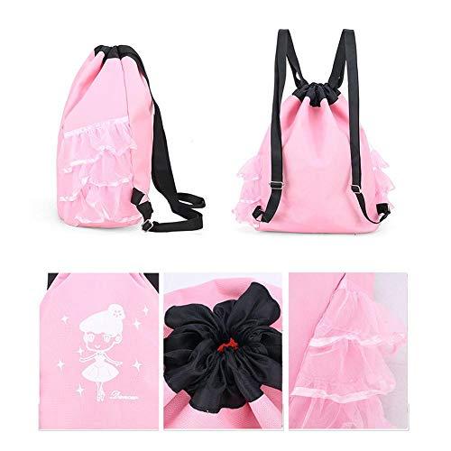 Funnyfeng dansrugzak, prinses Dance rugzak, ballettas, ballerina, voor kinderen, waterafstotende zeildoek, zwart/roze