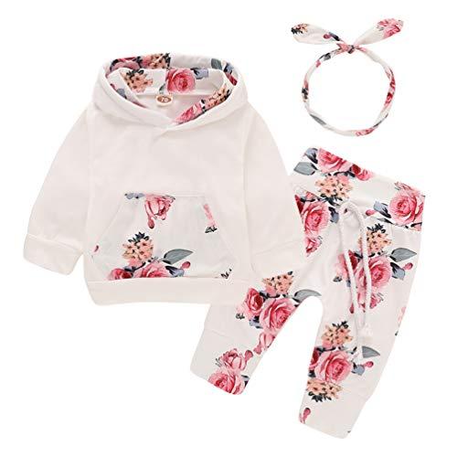 Hoodies 2 Pièces Ensemble pour Bébé Fille Pantalons à Capuche Floral avec des Pantalons Rayés Bébé Automne Tenue Vêtements Sweat-Shirt Style (6-12 Mois, Fleur)